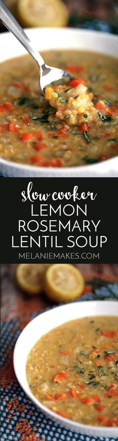 This Slow Cooker Lemon Rosemary Lentil Soup is one of the easiest soups to ever come out of your kitchen. Fresh vegetables lemon and rosemary become an amazingly hearty soup with minimal effort. Carrots onion yellow bell pepper and red lentils are flav Slow Cooker Soup, Slow Cooker Recipes, Soup Recipes, Whole Food Recipes, Vegetarian Recipes, Cooking Recipes, Healthy Recipes, Red Lentil Recipes, Vegan Crockpot Recipes