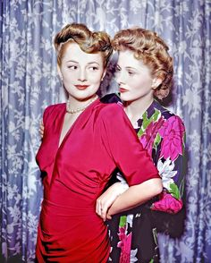 Olivia de Havilland with Her Sister Joan Fontaine Candid Photo