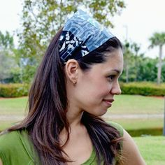 Black & Gray Quilted Batik Wide Headband