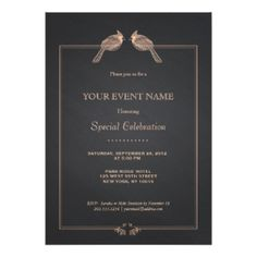 Elegant Hand Drawn Birds On Black Chalkboard 5x7 Paper Invitation Card