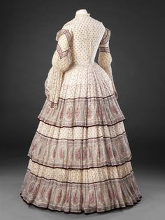Day dress in unstated material, British, early The John Bright Collection, nr ? 1850s Fashion, Edwardian Fashion, Vintage Fashion, Women's Fashion, Vintage Dresses, Vintage Outfits, Victorian Dresses, Crinoline Dress, Day Dresses