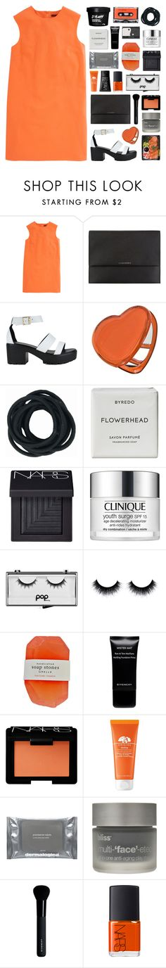 """""""//persimmon//"""" by bananafrog ❤ liked on Polyvore featuring Christopher Kane, Burberry, Dotti, Byredo, NARS Cosmetics, Clinique, Pop Beauty, Givenchy, Origins and Dermalogica"""