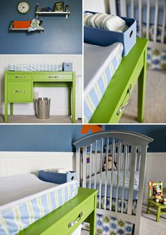They seriously used a desk as a changing table... still thinking on this one.  lol!