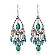 Shunyun Elegant Vintage Tassel Teardrop Zirconia Reticulate Dangle Earrings for Women Girls Gift Fashion Wedding Party Jewelry