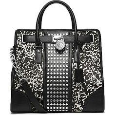 MICHAEL KORS Hamilton studded tote bag (Wht/blk
