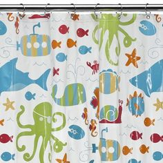 Octapus And Fish Shower Curtain Kids Bathroom Design Ideas 3753