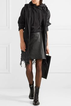 Alexander Wang | Hooded distressed denim jacket | NET-A-PORTER.COM