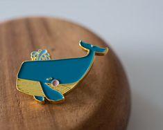 Mini Blue Whale ENAMEL PIN by kushkush on Etsy