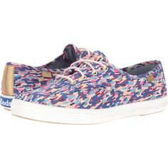 Keds Champion Liberty Meadow (Pink) Women's Shoes ($50) ❤ liked on Polyvore featuring shoes, pink, round cap, keds shoes, lace up shoes, laced shoes and keds