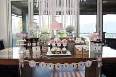 Cowgirl Party Dessert Table - the ribbon and lace backdrop is a great touch! #sweetstable #kidsparty