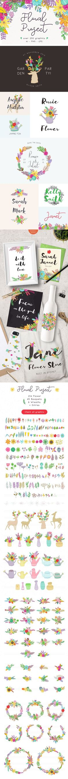 Spring florals and doe deers clip art for garden party invites, garage sale flyers, and more.