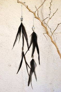 Extra Long Feather Earrings with Skull Beads  Style by jessamurph, $35.00