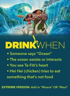 Moana 2016 Drinking Game by Drink When More games at Disney drinking games adult drinking games party games games Moana 2016 Drinking Game Teen Party Games, Birthday Party Games, Disney Party Games, Birthday Wishes, Games For Teens, Adult Games, Drunk Games, Alcohol Games, Drinking Games For Parties