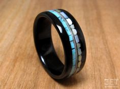 Ebony Bentwood Ring with Turquoise/Mother of by JETbentwoodjewelry