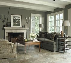 Living Room Flooring Ideas-rough cut slate tile and love the wall colour with the white trim Living Room Flooring, My Living Room, Living Room Decor, Living Spaces, Small Living, Slate Flooring, Slate Tiles, Flooring Ideas, Hardwood Floors