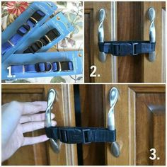 Use Dog Collars to Baby Proof the cupboards!