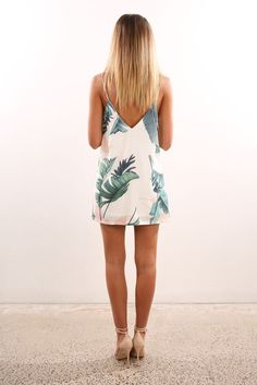 Check out this product from Jean Jail: Unassigned: Tropical Palm Dress White