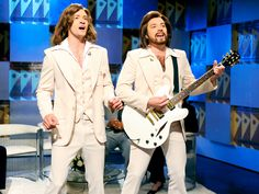 """It's the Barry Gibb Talk Show!..bahaha JT and Jimmy Fallon on SNL. I'm dying of laughter here all alone watching this. They're amazing."