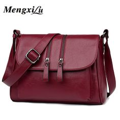 f9f5f7dbd8ef 2018 New Double Zipper Women Messenger Bags Soft Women Crossbody Bag  Designer Women Pu Leather Handbags