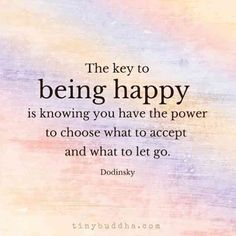 """The key to being happy is knowing you have the power to choose what to except and what to let go.""- Dodinsky"