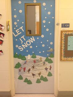 "Winter Classroom Door. Students as Ice Skaters: While the children are outside in their winter gear, I take pictures of them standing on one foot. Print the pics and cut them out then, glue them to an aluminum foil ""pond"". I take a thin-line sharpie and add little skates to each foot."