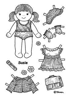 Photo: Susie 1 Paper Doll to Print and Colour. Susie 1 påklædningsdukke til at printe og farvelægge.