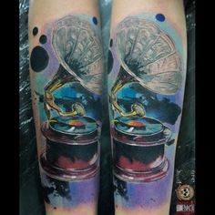 André Rodrigues Tattoo #gramophone #tattoo