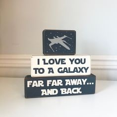 Star Wars nursery decor I love you to a galaxy far far away wood sign geek baby gift stacking blocks x-wing fighter Star Wars baby - Droids Star Wars - Ideas of Droids Star Wars - Star Wars Kids, Star Wars Baby, Regalos Star Wars, Galaxy Nursery, Galaxy Bedroom, Star Wars Nursery, Star Wars Room Decor, Geek Nursery, Nursery Boy