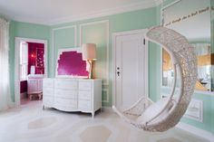"""Heart on Fire"" Little Girl's Bedroom and Bath transitional-bedroom"