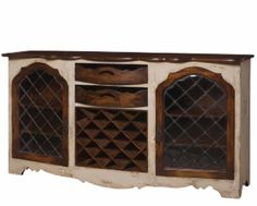 Restoration Wood, Curved, Iron & Glass Industrial Rustic Media Console Cabinet #Purehome #RusticIndustrialFrench
