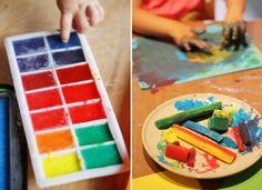 Pintar con hielos de agua y témpera