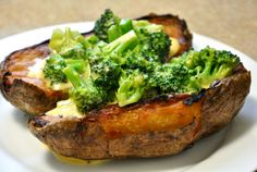 Brocolli Cheddar Baked Potato w/ the Works (optional) INGREDIENTS  2 russet potatoes 2 tablespoons extra-virgin olive oil sea salt 1 bunch broccoli florets and tender insides of the stalk 2 tablespoons unsalted butter 2 tablespoons flour 1 1/2  teaspoons dry mustard powder 1 cup milk (low-fat or full-fat, full-fat will be creamier) 2 cups sharp cheddar, grated pinch of cayenne 1/2 teaspoon sea salt 1/4 t. pepper  http://www.dulanotes.com/the-broccoli-secret/