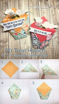 , Simple Sweets: Folded Treat Holders with the Carried Away Designer Paper , Looking for a quick treat holder? Something fun that you can make up with spare Designer Series Paper that you might have in your stamping supplies? Paper Pocket, Treat Holder, Treat Box, Stamping Up, Craft Fairs, Paper Design, Christmas Crafts, Christmas Tables, Preschool Christmas