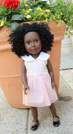 Pastel Peach 18 inch Doll Flower Girl Dress