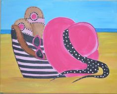 """Summer Days August 12- join us to paint this awesome beach scene! Transport yourself to the sun and sand anytime. """"Summer days, drifting away"""""""