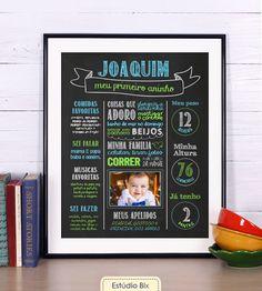 Poster Lousa Aniversário - poster, lousa, chalkboard, aniversário, criança, 1…