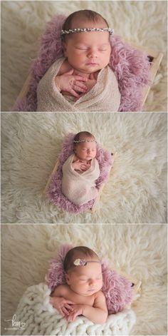 sleeping newborn baby girl - pink and cream