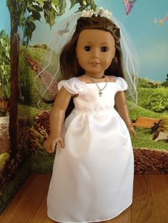 American Girl doll clothes  First Communion  dress by SewSmallNSweet