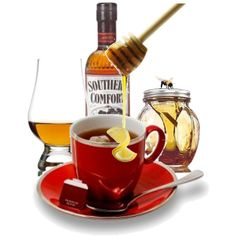 Cup of hot tea 1 shot of SoCo Squeeze of lemon Honey to taste Holiday Drinks, Party Drinks, Hot Toddy Recipe For Colds, Tea Art, Cold Remedies, Southern Comfort, My Tea, Southern Recipes, Drinking Tea