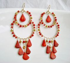 Red Coral Hoop Earings, Gold Filled Wire Wrapped Chandelier Earrings. $58.00, via Etsy.