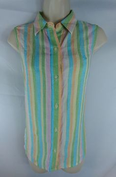 Ralph Lauren NEW Multi-Color Striped Sleeveless Button Down Linen Shirt Ladies M | Clothing, Shoes & Accessories, Women's Clothing, Tops & Blouses | eBay!