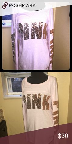 Victoria's Secret baby pink, sequined, bling Tee Size large, worn one time and washed once. PINK Tops Tees - Long Sleeve
