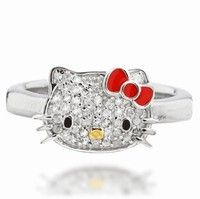 Glittering and adorable! This Hello Kitty ring by Simmons Jewelry in Fine 925 Sterling Silver has rich pave-set diamonds
