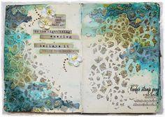 art journal inspiration ... 'Keep Calm and Make Art'– Journal Spread by Marta Lapkowska | Lindy's Stamp Gang