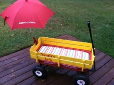 The first party wagon project for my sweet baby nephew Noah. Obviously. Sunbrella stripey cushion fabric. So cute, just wish I had a picture of the cute nugget this is for in his ark.