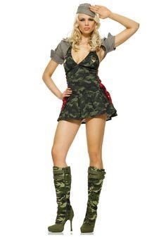 7dd7570532e Women s Army Cadet Costume HatShrugDress w Lace Up SidesIn this Women s Army  Cadet Costume