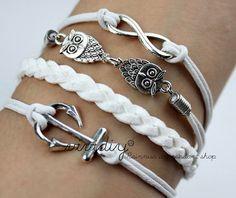 Infinity karma braceletAntique silver Owls by vividiy on Etsy, $4.99