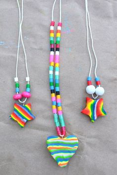 Sculpey heart necklaces for kids' craft