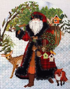 Melissa Shirley Woodland Santa - Enriched Stitch 120313