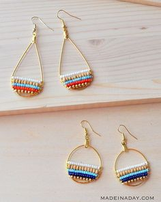 Beachy Bohemian Beaded Hoop Earrings #beachy #bohochic #boho #bohemian…